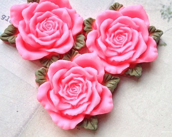 40 mm Pink Color Resin Rose Thick Cabochons (t.t)