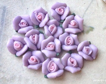 8 mm Light Purple Color Tiny Flat Back Porcelain Roses (.tm)