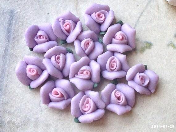 Luz violeta 8 mm Color pequeñas rosas de porcelana parte