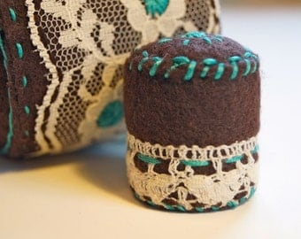 Turquoise and Lace Pincushion with Matching Mini