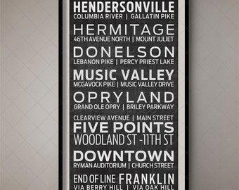Nashville, Tennessee (Music City) Bus Blind - Subway Scroll / Destination List 2