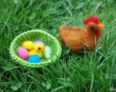 Needle Felted Hen with Nest Chick and Easter Eggs, Easter Basket, Handmade, Decoration, Felted animals
