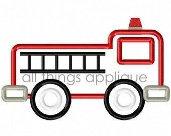 Firetruck Applique Design - 4 Sizes - INSTANT DOWNLOAD