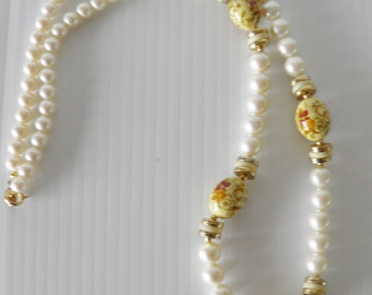 Faux Pearls With Ceramic Beads.