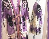 Magnolia Pearl TYPE OOAK Crochet Doily Sweater Cardigan Purple black sz LG
