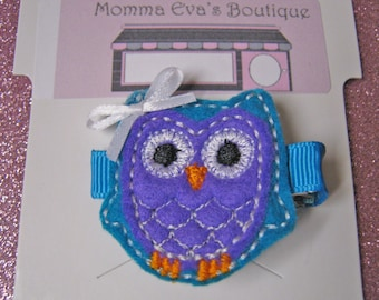 Momma Eva's --   NEW Blue & Turquoise Owl Hair Clippie Design // Love Owls  // FREE No Slip Grip Available // Flat Rate Shipping