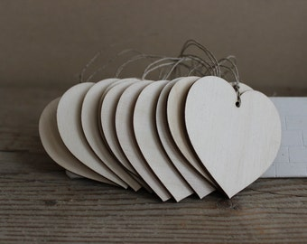 """Wooden hearts / set of 50 / 2.8"""" x 2.8"""" wooden heart tags/  wedding decor"""