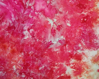 Ice Dyed Fabric, Hand Dye, Peonies, Fat Quarter (MB) #104
