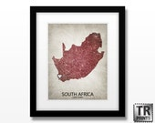 South Africa Map - Home Is Where The Heart Is Love Map - Original Custom Map Art Print Available in Multiple Size and Color Options