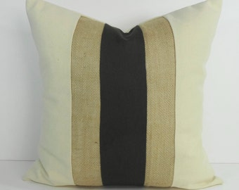 Olive Green and Burlap Decorative Pillow Cover, Throw Pillow Cushion, 18 x 18