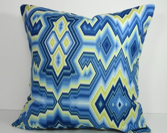 Colonial Williamsburg Blue and Yellow Chevron Pillow Cover, Throw Cushion Cover, Decorative Pillow