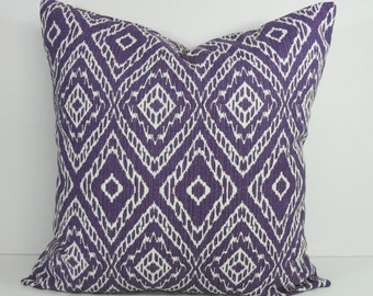 IKAT Purple Decorative Pillow Cover, Purple and White, 18 x 18, 20 x 20, Robert Allen at Home Throw Pillow Cover, Cushion Cover