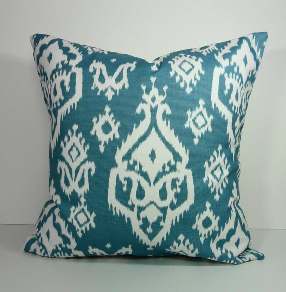Steel Blue Throw Pillows : Blue IKAT Decorative Pillow Cover Steel Blue and White 18 x