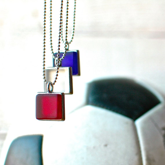 Red Recycled Pewter Charm Necklace // Eco-friendly Jewelry