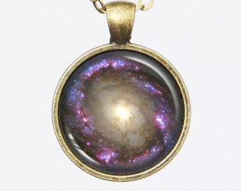 Astrographic Pendant Necklace - Spiral Galaxy NGC 4314 - Galaxy Pendant Series (G009)