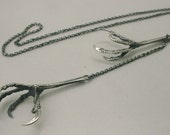 Double Starling Claw Necklace, Sterling Silver