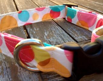 Pink bubbles print dog collar