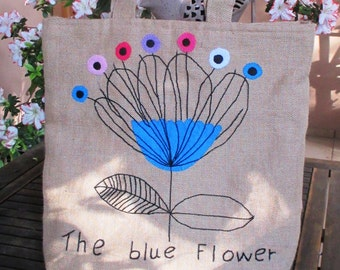 Floral jute tote bag, hand embroidered with a single blue  flower,  unique tote bag, summer, spring, shoppers bag, one of  a kind