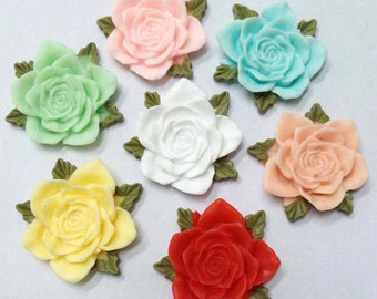10pcs Mixed Colors of Beautiful Resin Flower Cameo Cabochon Charm 34mm