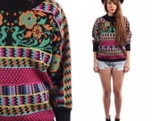 Floral Sweater Black Aztec Sweater Grunge 80s Boho Purple Fuchsia Romantic Print Knit 1980s Pullover Green Vintage Hipster Small to Medium