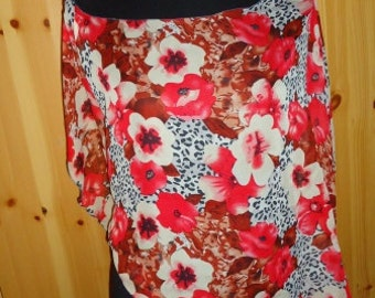 Beach Cover up, Scarf, Red tropical flowers Chiffon, SALE