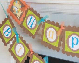 Mod Jungle Zoo Elephant, Monkey, Giraffe, Lion Green, Brown & Orange Happy Birthday Banner