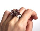 Purple Oriental Ring ArabesqueStatement Purple Beaded Ring Adjustable Turkish Inspired Oriental Ring Arabesque Ring