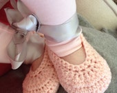Crocheted Baby Girls Ballet style Shoe Bootie in custom colour sizes  NB to 12M Ready to Ship