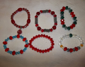 Hand made Bracelets - Many Beautiful Styles - Glass Beads/Silver Spacers/Swarovski