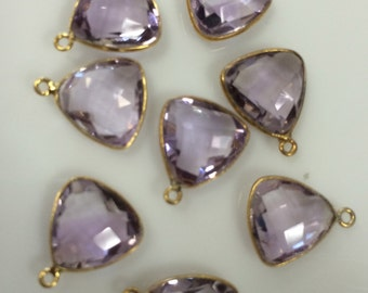 sold by piece natural pink amethyst checker both sides triangle one ring 10 mm