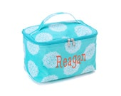 Personalized Cosmetic Bag - Aqua, Pink or Black Maddie