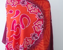 Om scarf in red and orange. Hand painted Hindu or Buddhist inspired shawl wrap or neck scarves. Hippie Bohemian Boho accessories. Beach wrap