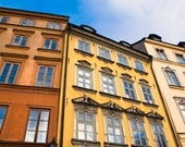 Fine art photo print - photography decor wall architecture Stockholm city buildings Sweden travel colourful