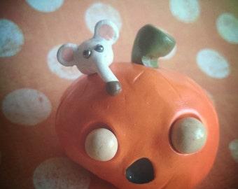 Mouse on a Jack-o-lantern Pumpkin Figurine Figure Polymer Clay Gift Ooak Holiday Halloween Cute Funny Silly Animal White Orange Art Doll