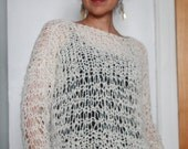 Hand Knit Boyfriend Sweater Jewel Neck Sweater Hand Knit Sweater Winter White Black Sweater