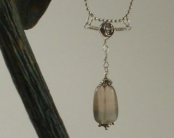 Pale Green Rainbow Fluorite Pendant - Sterling Silver and Silver Plate Wire Wrap - Created by Hand