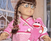 Pajamas for 18 in American Girl Doll with Fuzzy Slippers and Ty Monkey