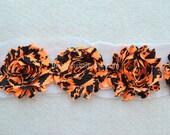Shabby Chiffon Rose Trim, Shabby Flower, Black/Orange Halloween, 1 yard
