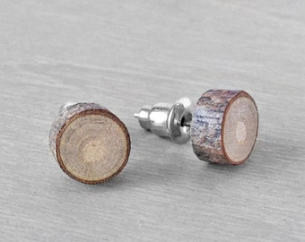 Wood Stud Earrings - Small Natural Wooden Earrings - Hardwood Post Earrings Natural Oak Wood with Surgical Steel Posts
