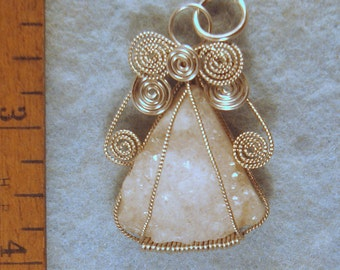 Geode Druzy Angel Wire Wrapped Pendant in Argentium Sterling Silver Wire Number 1 of 500