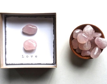 L O V E - ROSE QUARTZ -intention stones with gift box --- small gift, favor, unique wedding favor