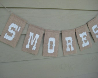 S'Mores Banner, S'Mores Burlap Banner, S'Mores Sign, Rustic Wedding, Burlap Wedding, Burlap Banner, Burlap Sign, Rustic Burlap Banner