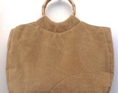 Beige Tapestry Tote with Bamboo Handles