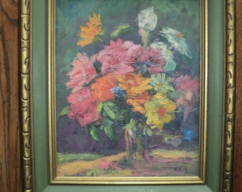 Original Floral Still Life  Oil Painting on Canvas Board,  A Well Done Composition in Warm Colors with great texture