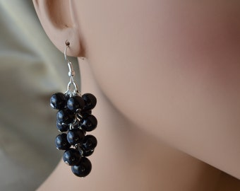 Pearl Earrings, Pearl Cluster Earrings, Black Pearls Earrings, Chunky Earrings, Black Bridesmaid Earrings, Wedding Earrings, Pearl Jewelry