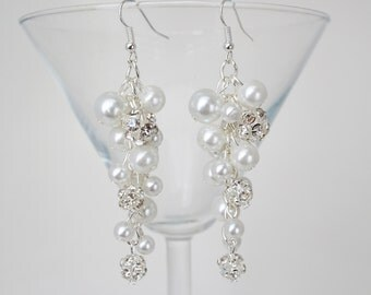 White Pearl, Rhinestones and Crystals Earrings. Tapered Earrings, Wedding Earrings, Crystal Earrings, Pearl Earrings, Bridesmaid Earrings.