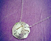 I Love the NJ Shore Beach Badge Necklace Hand-stamped Sterling Silver