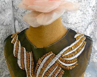 Silver Stitched Gold Beaded Applique