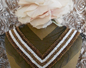 Coppery Brown and White Beaded Applique