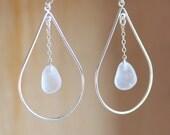 sea Glass & Sterling Silver Peacock Earrings - White